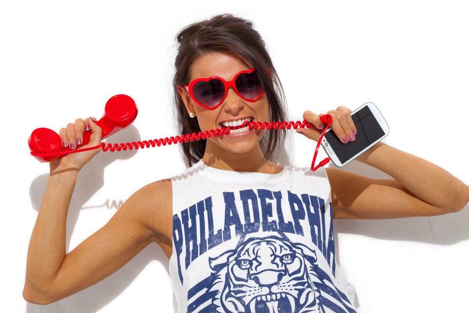 Red Mobile Phone Handsfree Crazy Girl by David Kebo